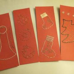 Hand Embroided Christmas Bookmarks - Set of 4